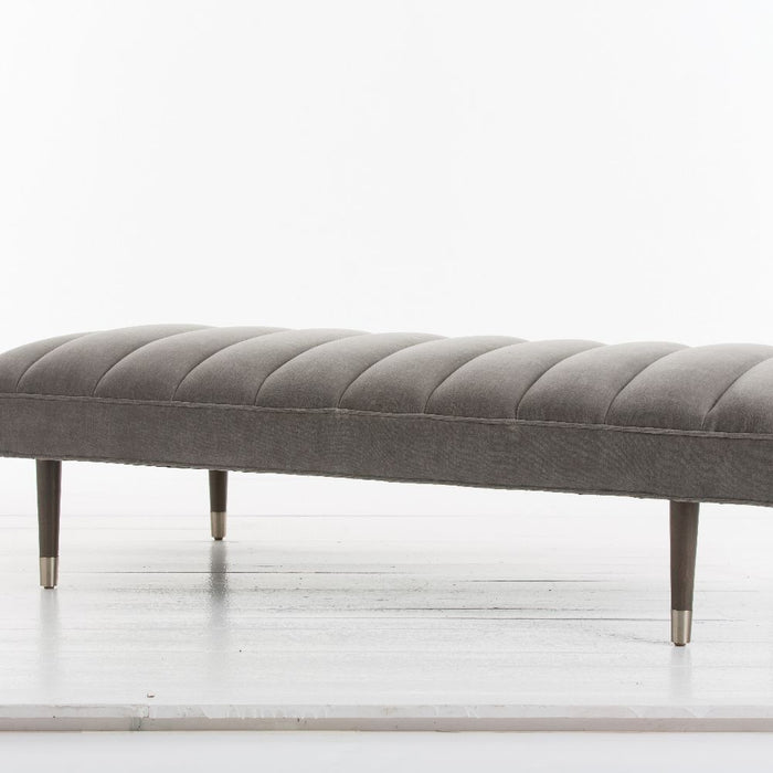arteriors home christophe bench sharkskin velvet gray angle