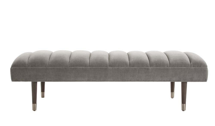 arteriors home christophe bench sharkskin velvet gray
