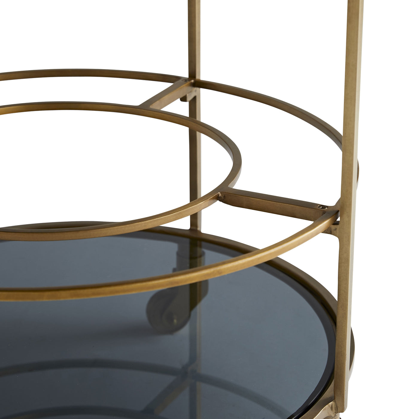 arteriors home crestwood bar cart layered glass detail