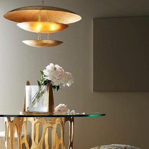 arteriors home florko chandelier gold leaf eight light design modern lighting curved discs