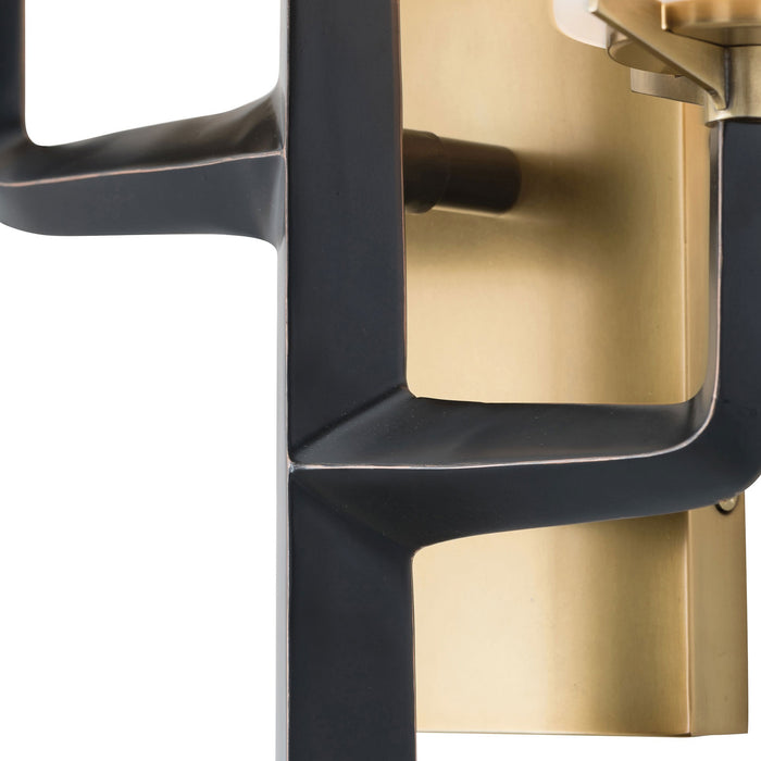 arteriors home griffin sconce brass light close up