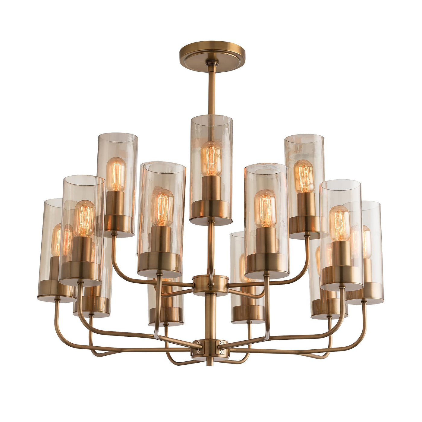 arteriors home hammond chandelier brass glass shades