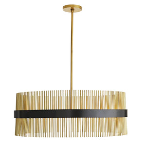 arteriors home hozier chandelier antique brass full view illuminated