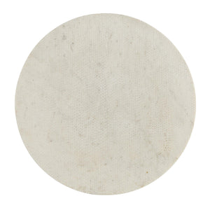 Arteriors Home Jaime End Table White Marble Iron Round