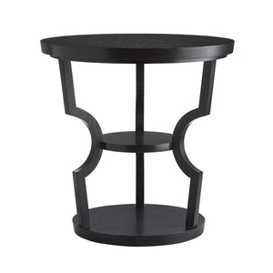 Arteriors Home Kal Side Table Ebony Black Oak Round Curve