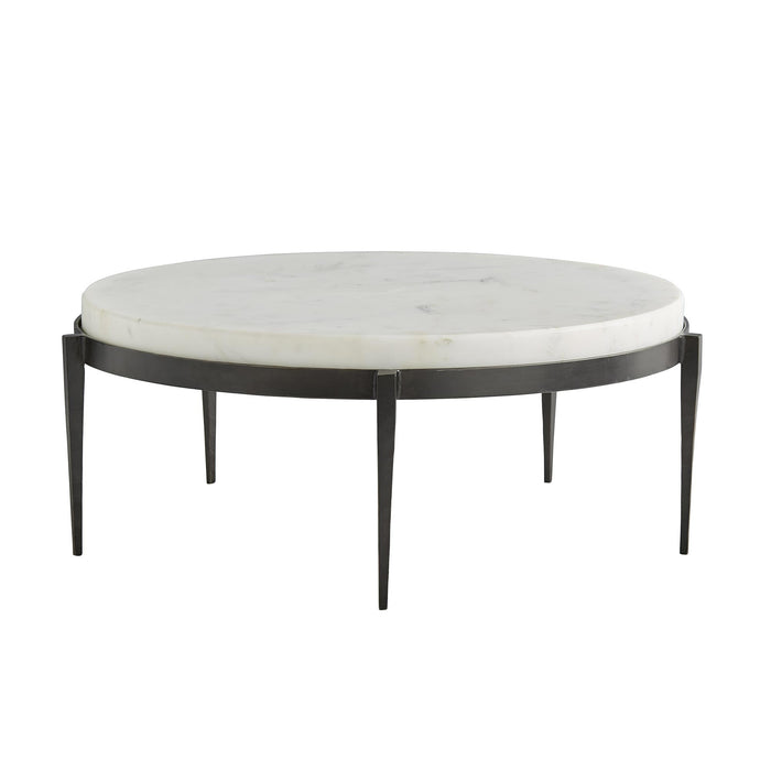 Arteriors Home Kelsie Cocktail Table Round Marble Iron Black