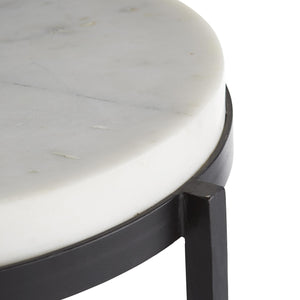 Arteriors Home Kelsie Side Table White Marble Black Iron Round