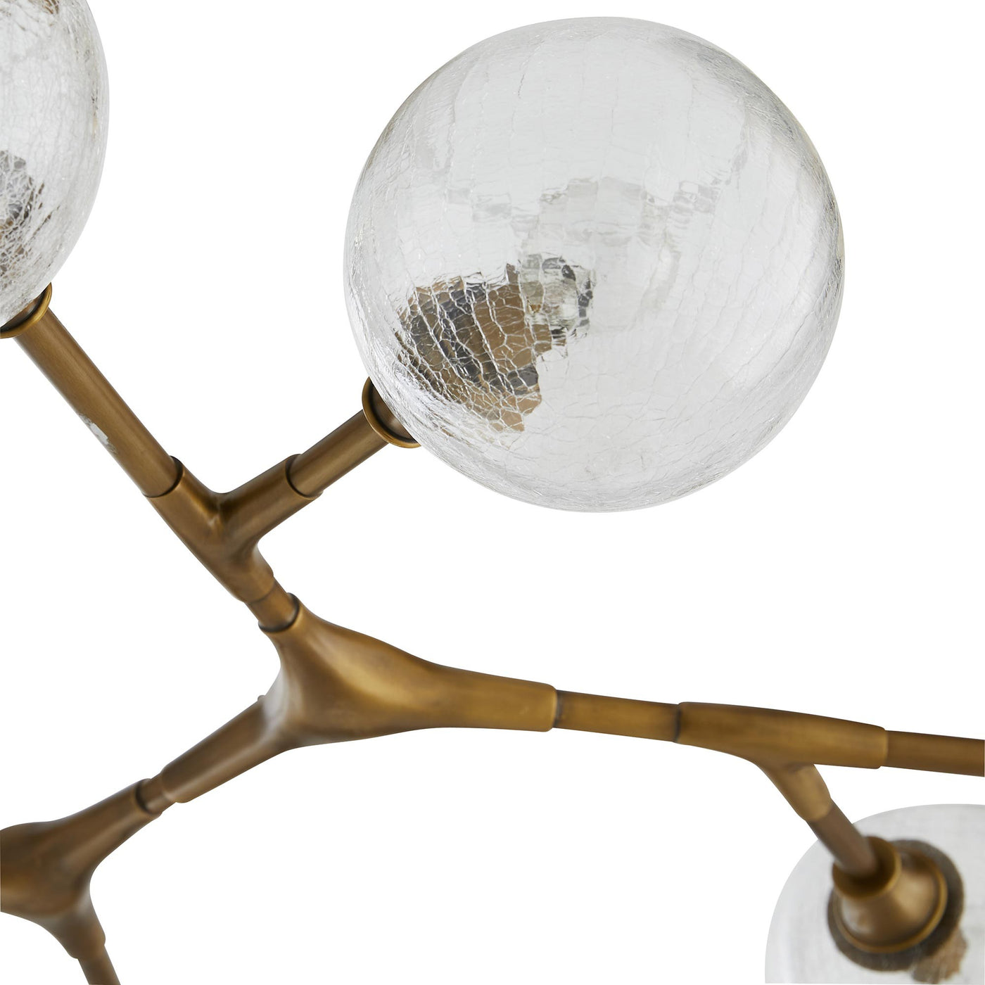arteriors home mahowald fixed chandelier antique brass bulb detail