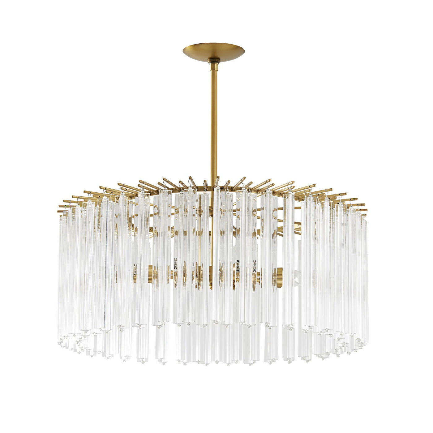 Arteriors Home Nessa Round Chandelier Steel Antique Brass Glass