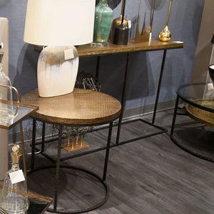 arteriors home nixon side table brass finish
