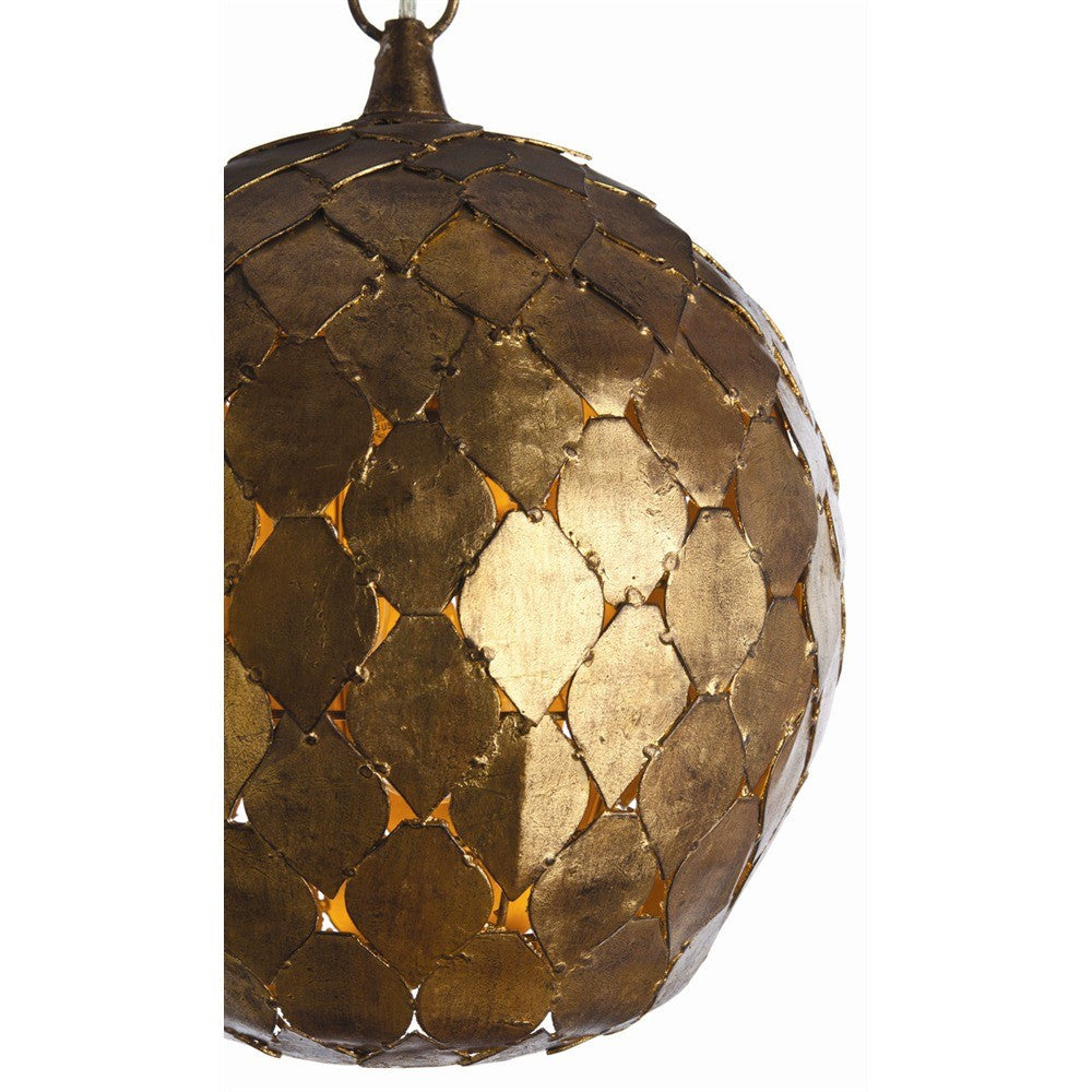 arteriors home osgood iron pendant light antique gold leaf detail
