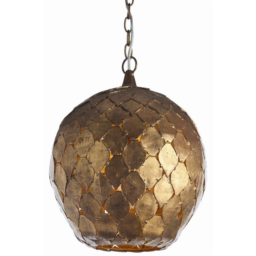 arteriors home osgood iron pendant light antique gold leaf