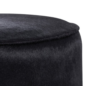 Arteriors home pratt ottoman black leather upholstery detail 6060