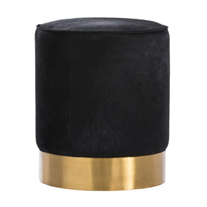 Arteriors home pratt ottoman round black leather seating 6060