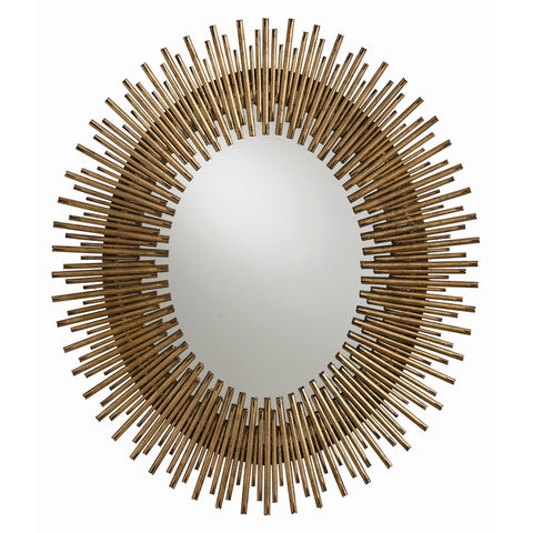 arteriors home prescott oval iron mirror gold leaf frame