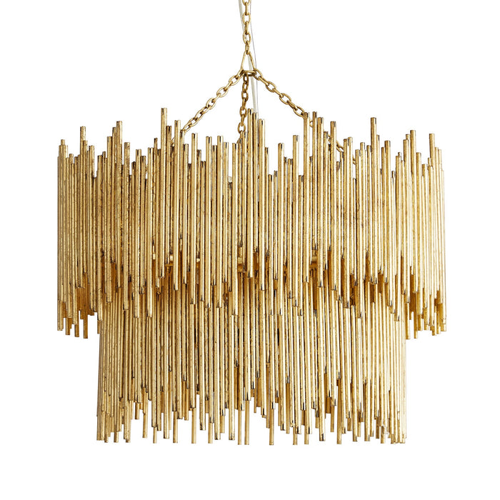 arteriors home prescott two tiered pendant gold