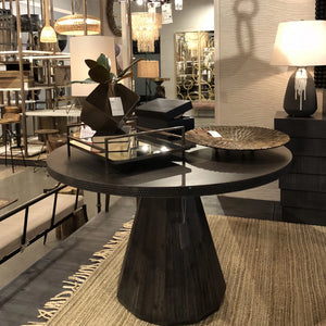 arteriors home seren dining table round wood dark