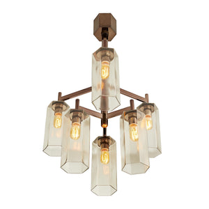 arteriors home soloman chandelier brown nickel bottom illuminated
