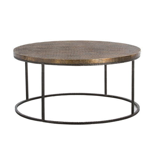 arteriors home nixon coffee table round wood top iron base industrial 6175