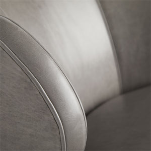 arteriors kitts chair mineral gray leather upholstery
