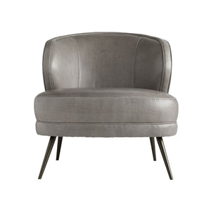 arteriors kitts chair mineral gray leather front