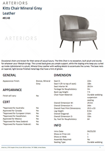arteriors kitts chair mineral gray leather tearsheet