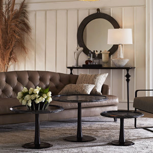 arteriors klein sofa mushroom leather seating living room