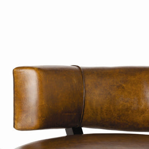 arteriors home laurent chair brown leather mahogany legs brass AH 2996 office chairs, accent chairs, chair, office chair, accent chair, living room chairs