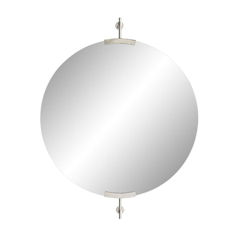 arteriors madden round mirror antique nickel
