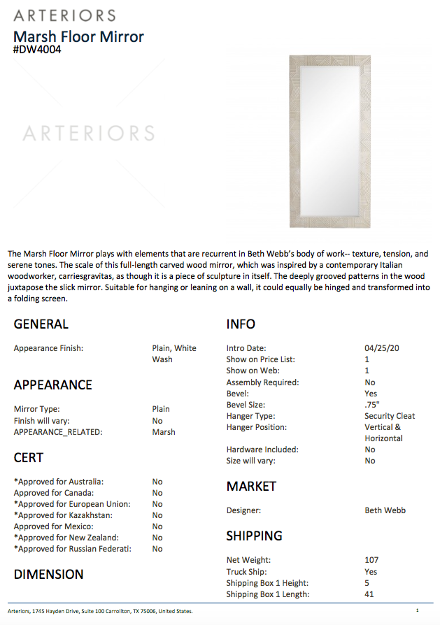 arteriors marsh floor mirror tearsheet