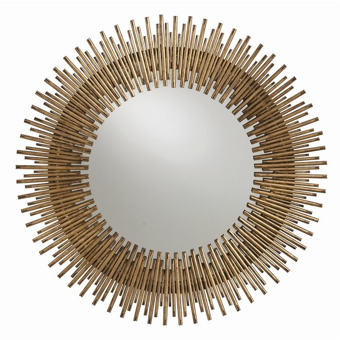 arteriors home prescott round mirror antiqued gold leaf iron