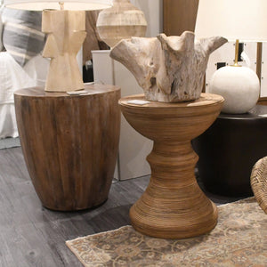 arteriors jacob side table wood round