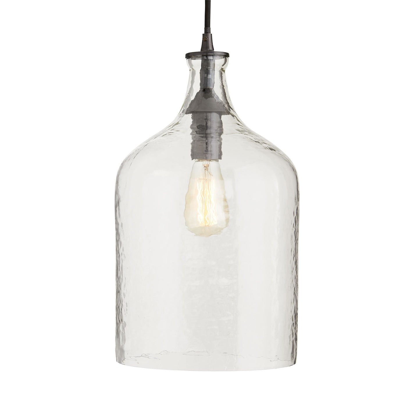 arteriors noreen pendant clear seedy glass illuminated