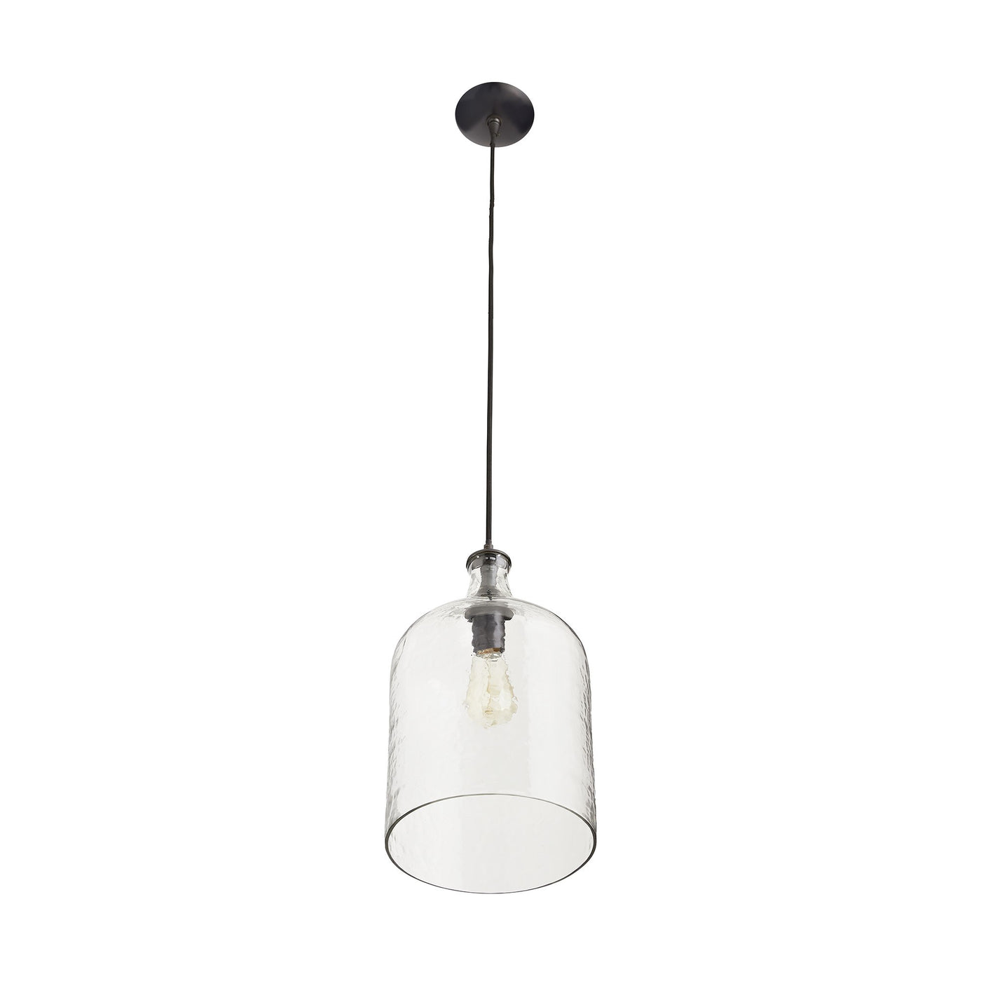 arteriors noreen pendant clear seedy glass bottom view