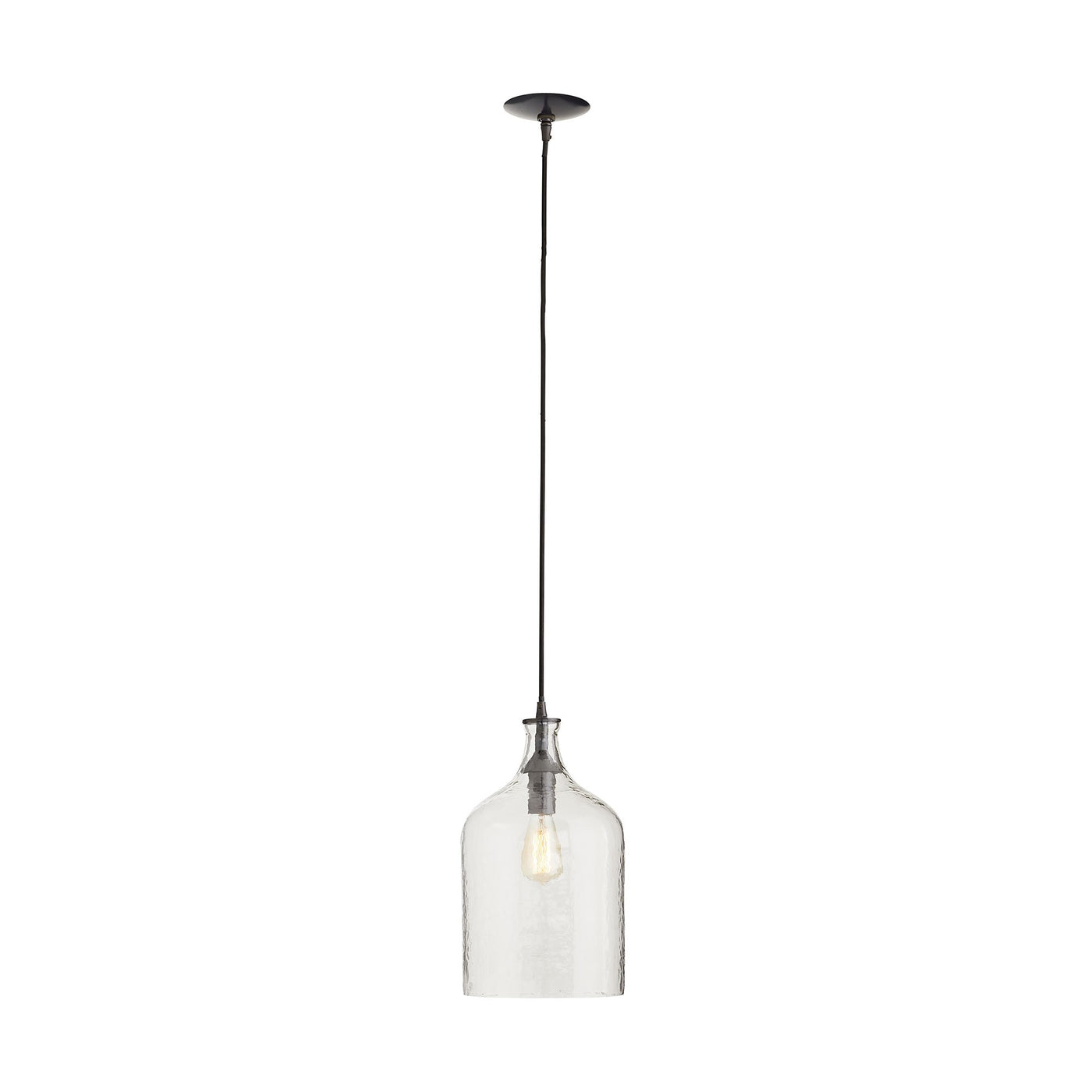 arteriors noreen pendant clear seedy glass illuminted full view