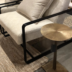 arteriors otelia accent table brass round showroom