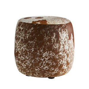arteriors home owen ottoman stool hide brown cream