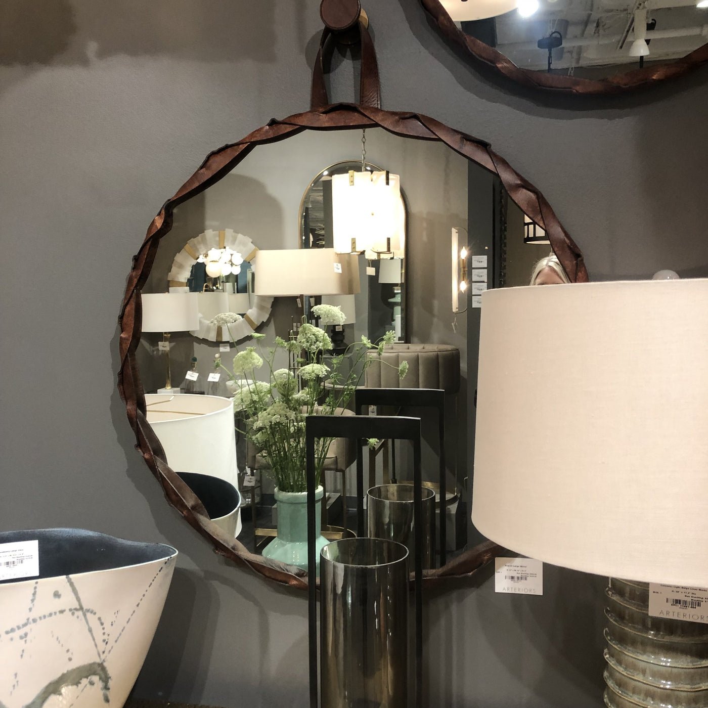 arteriors powell round mirror leather brown showroom