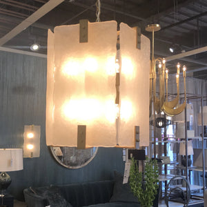 arteriors tomlin pendant hanging light glass brass showroom