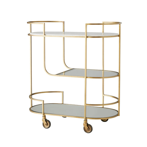 arteriors trainor bar cart antique brass