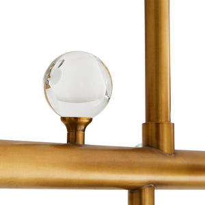 arteriors troon chandelier antique brass detail