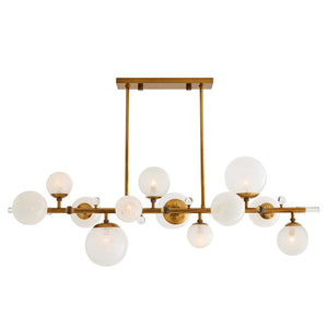 arteriors troon chandelier antique brass illuminated