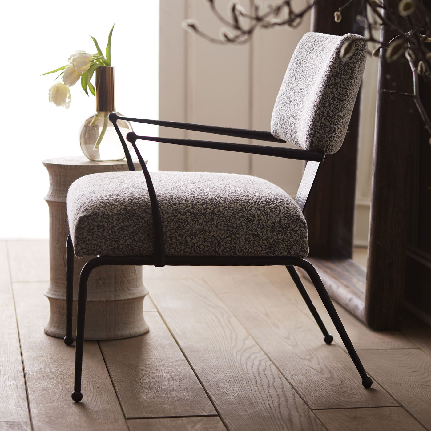 arteriors wallace chair pitch texture styled