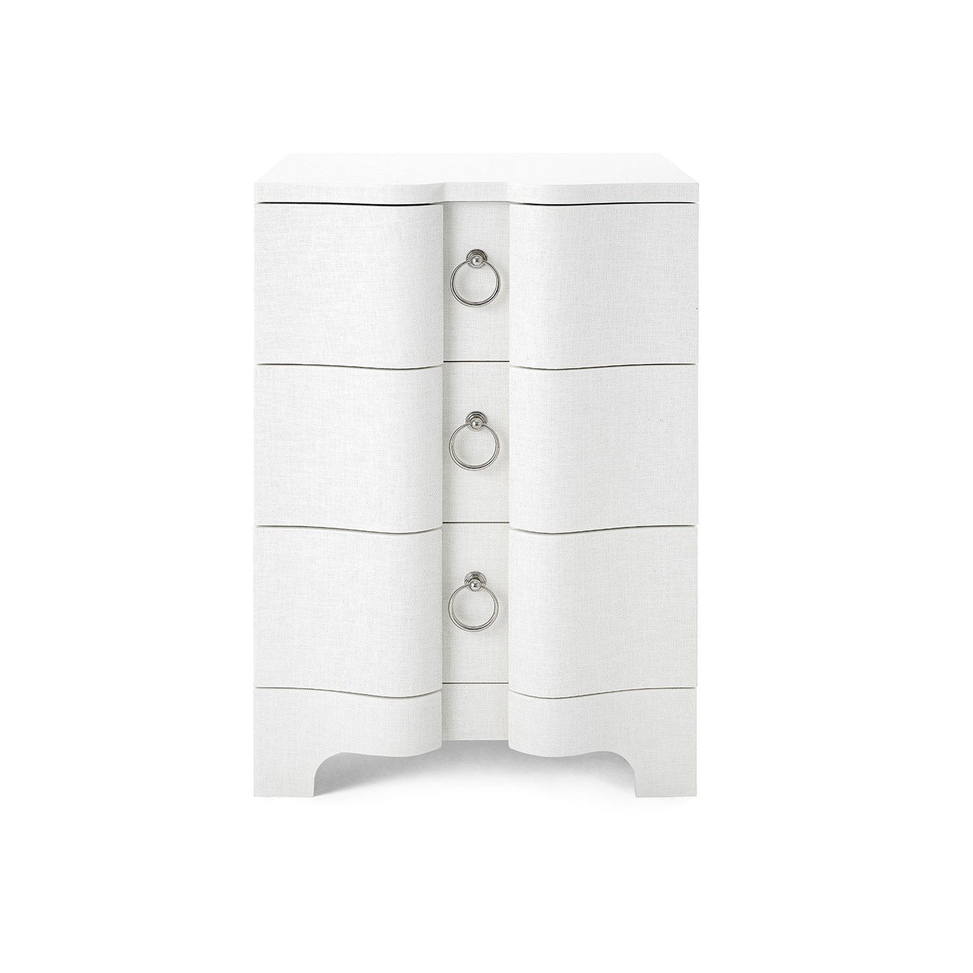 Bungalow 5 Bardot 3 Drawer Side Table White Grasscloth Nickel
