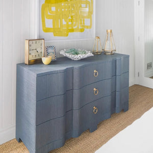 Bungalow 5 Bardot Large 3-Drawer Navy Blue Grasscloth Nickel