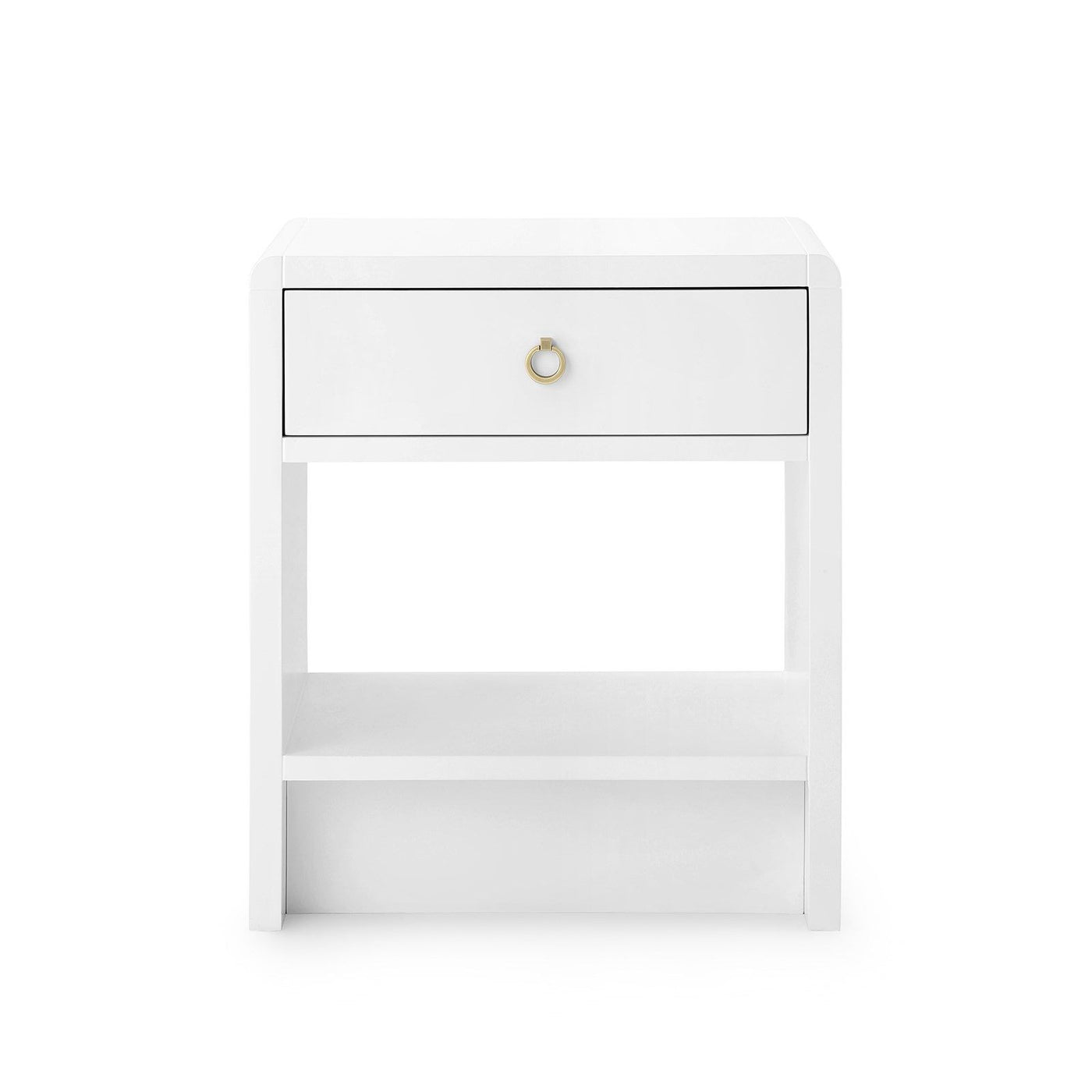 Bungalow 5 Benjamin 1 Drawer Side Table White Gold Pull front