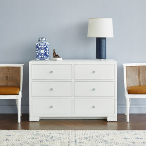 Bungalow 5 Frances Extra Large 6 Drawer Chest White FRA-250 Room View