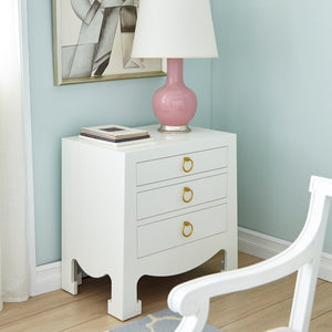Bungalow 5 Jacqui 3 Drawer Side Table White JAC 130 09 Room View