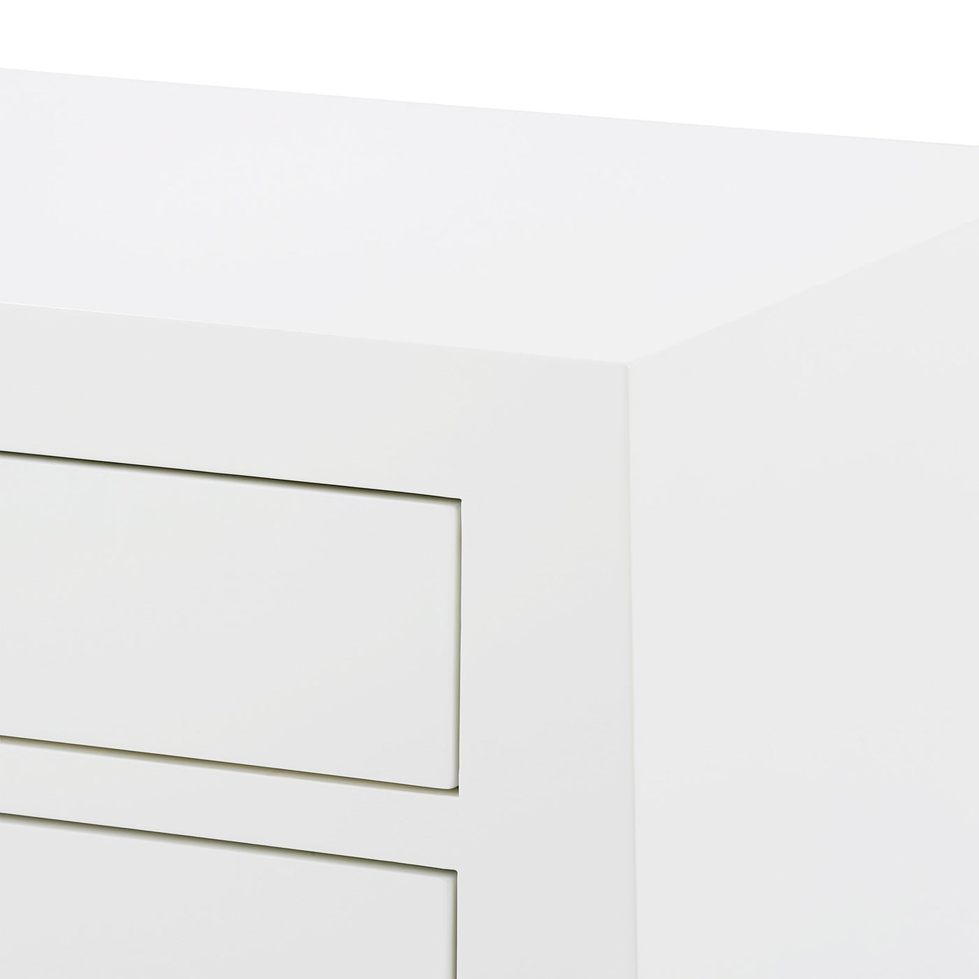 Bungalow 5 Jacqui 3 Drawer Side Table White JAC-130-09 Corner bed side table, bedroom side table, modern side table, white side table detail