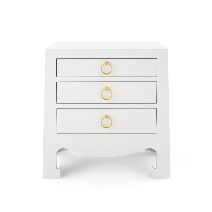 Bungalow 5 Jacqui 3 Drawer Side Table White JAC-130-09 bed side table side table for bedroom bedroom side table